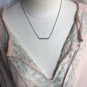 ⭐️ Lucky Brand, delicate, pave bar necklace, boho